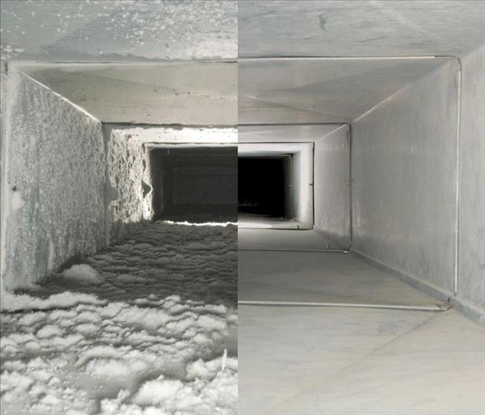 A clean air duct and dirty one next to each other.